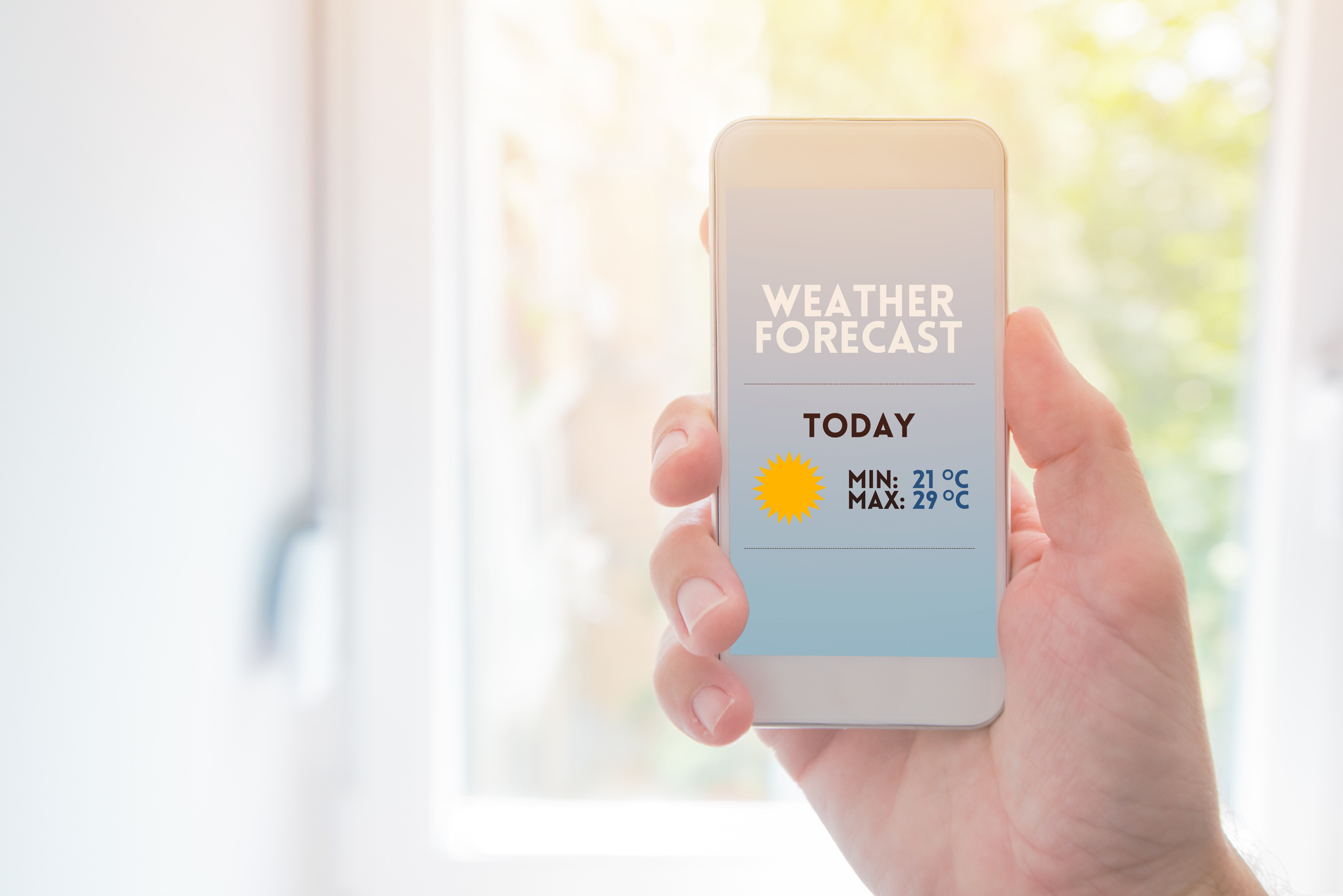 image of a weather forecast app on a cell phone